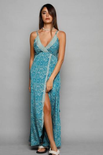 שמלת סאטן מקסי בגווני טורקיז SEVEN
