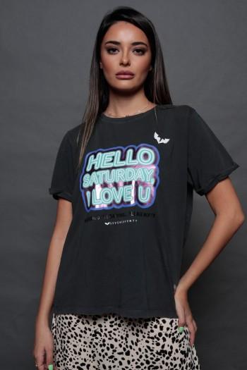 חולצת טי שחורה ווש HELLO