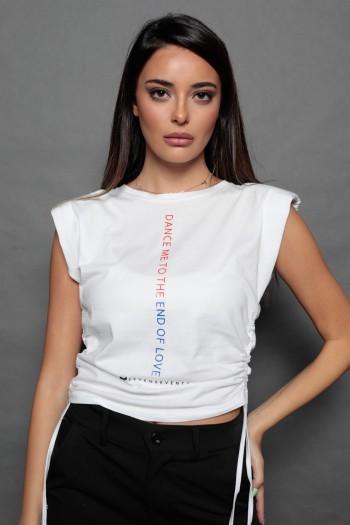 חולצה לבנה כיווצים ללא שרוול כריות כתפיים ATTITUDE