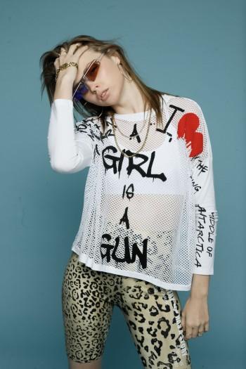 חולצת רשת לבנה GIRL
