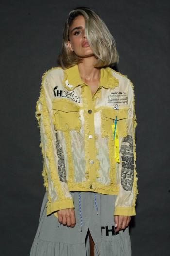 חולצת עליונית צהובה כפתורים HAND MADE