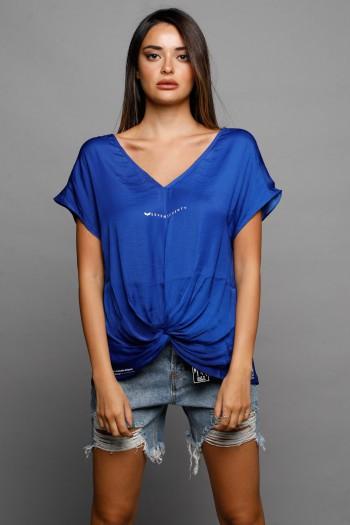 חולצה סאטן כחולה כיווץ SEVEN