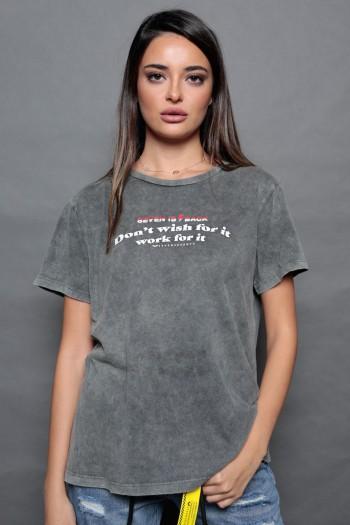 חולצת טי אפור ווש WISH