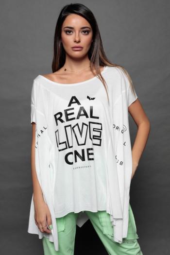 חולצת טי אוברסייז בגזרת עטלף לבנה LIVE