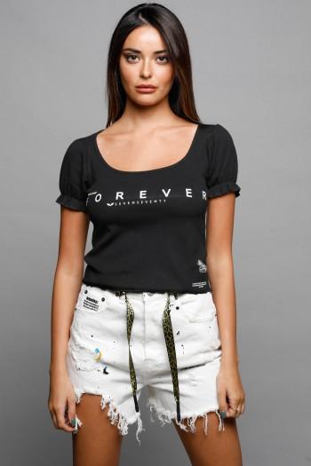חולצה שחורה קצרה שרוולים תפוחים FOREVER
