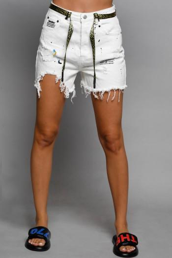 מכנסי ג'ינס לבנים קצרים קרעים STORY
