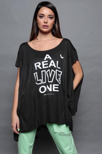 חולצת טי אוברסייז בגזרת עטלף שחורה LIVE