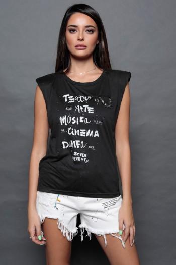 חולצת כתפיים שחורה ללא שרוול ART