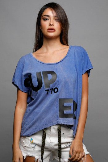 חולצת T בגוון כחול SUPER