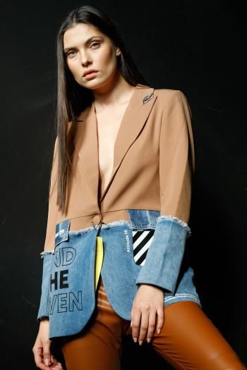 ג'קט בלייזר מחוייט שילוב ג'ינס ובד חום 770