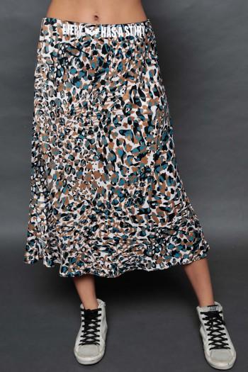 חצאית מידי סאטן מנומרת בגווני טורקיז וחום STORY
