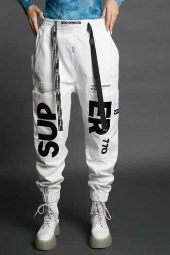 """מכנסי ג'גור לבנים בד דגמ""""ח SUPER"""