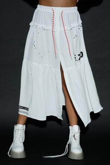 חצאית מקסי לבנה שסע STORY