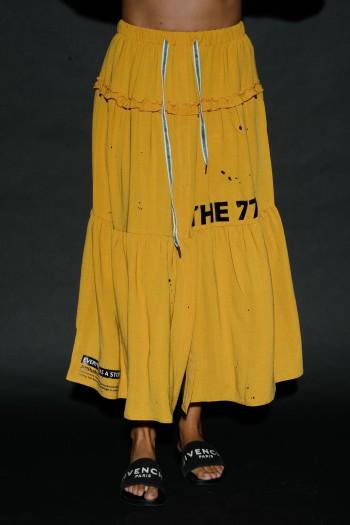 חצאית מקסי בגוון צהוב חרדל שסע STORY
