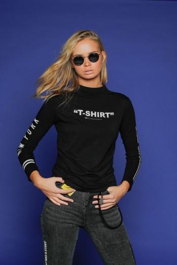 חולצת גולף שחורה שרוול ארוך SHIRT