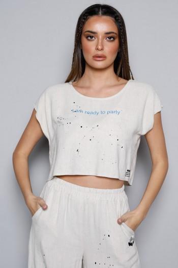 חולצה קצרה פשתן בז' PARTY