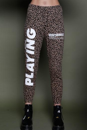 מכנסי ג'וגר מנומרים חום שחור  PLAYING