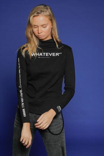 חולצת גולף שחורה שרוול ארוך WHATEVER