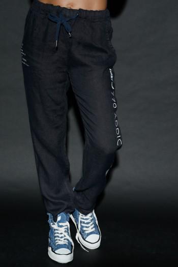 מכנסי פשתן בגוון שחור מלוכלך ADDICTED