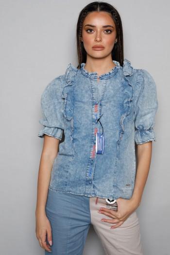 חולצת ג'ינס מלמלה מכופתרת LOOK