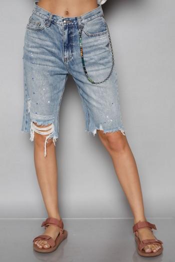 מכנסי ברמודה ג'ינס קרעים WARNING