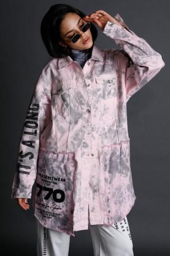 ג'קט עליונית ג'ינס בגווני טאי דאי ורוד אפור STORY