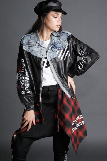 ג'קט ג'ינס בשילוב בד ניילון שחור FLOOR