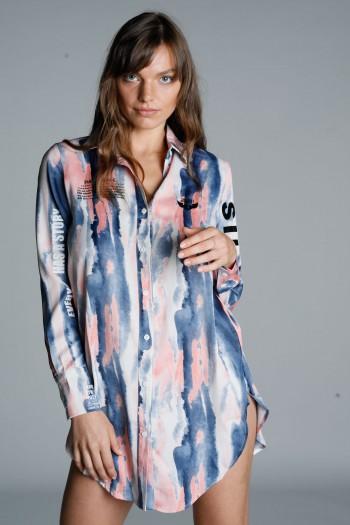 חולצה ארוכה מכופתרת בגווני טאי דאי ורוד-כחול SILENCE