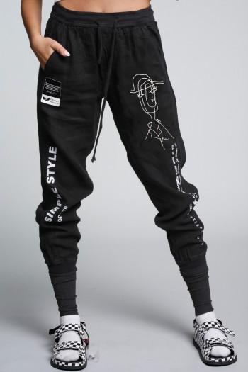 מכנסי פשתן ג'וגר שחורים STYLE