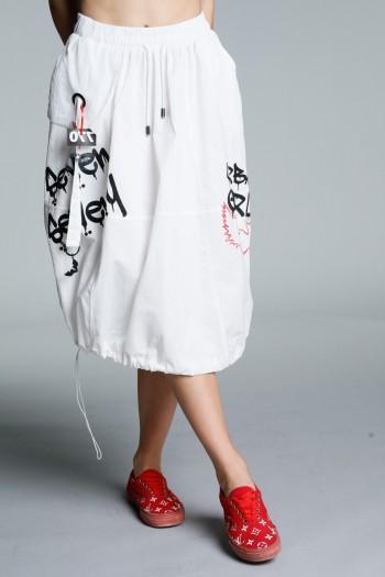 חצאית מידי לבנה בגזרת שקי URBAN GIRL
