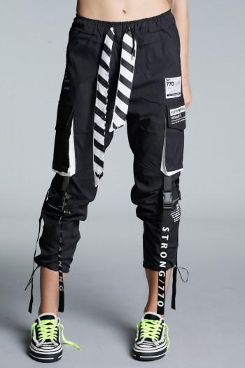 מכנסי ג'וגר שחורים רצועות ATTITUDE