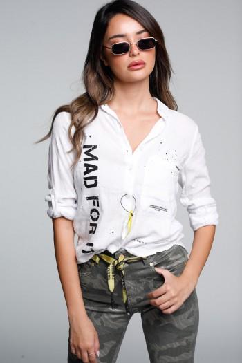 חולצה לבנה מכופתרת ארוגה MAD
