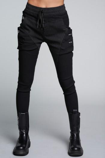 מכנסי ג'וגר שחורים פסים LIMITED