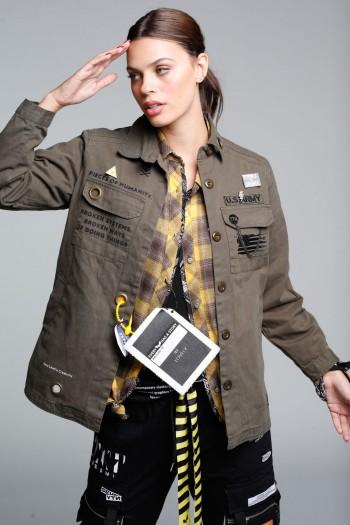 חולצת ג'קט שרוול ארוך בגוון זית ARMY