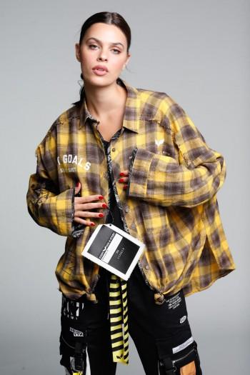 חולצת פלנל מכופתרת משבצות בגווני צהוב שחור SEVEN
