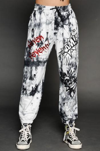 מכנסי פוטר בגווני שחור לבן SEVEN