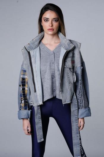 ג'קט ג'ינס שכבות בשילוב סריג ATTITUDE