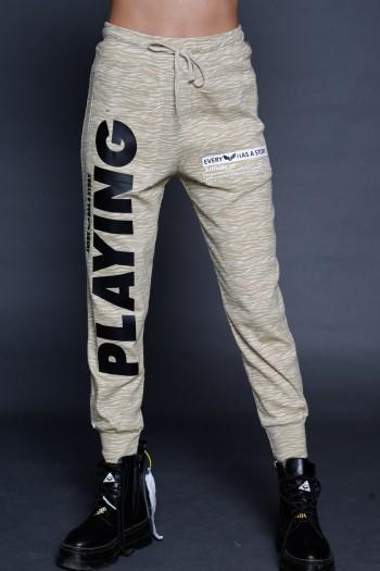 מכנסי ג'וגר דוגמת טיגריס בז' לבן  PLAYING