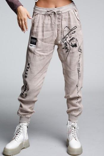 מכנסי פשתן ג'וגר בגוון בז' STYLE