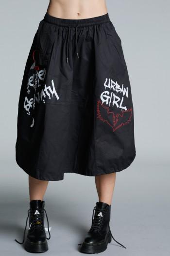 חצאית מידי שחורה בגזרת שקי URBAN GIRL