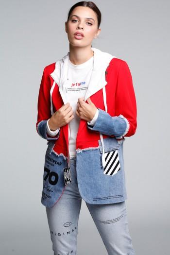 ג'קט בלייזר מחוייט שילוב ג'ינס ובד בגוון אדום 770