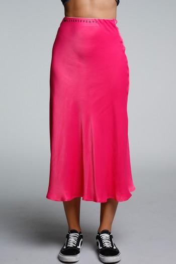 חצאית מידי סאטן בגוון ורוד פוקסיה SEVEN