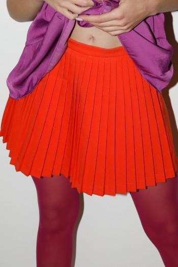 חצאית מכנס מיני פליסה כתומה LOVE