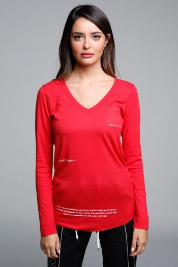 חולצת בייסיק וי ארוכה אדומה' SEVEN