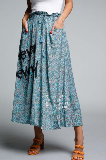 חצאית מקסי בוהו בגווני כחול SEVENSEVENTY