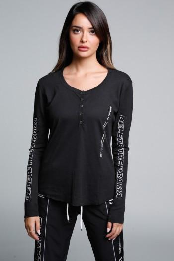 חולצת בייסיק טיקטקים ארוכה שחורה DELETE