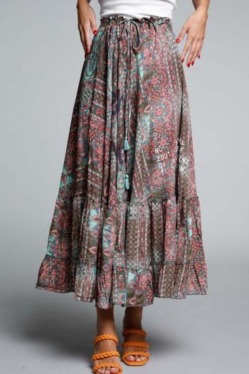 חצאית מקסי בוהו בגווני ורוד וטורקיז SEVENSEVENTY