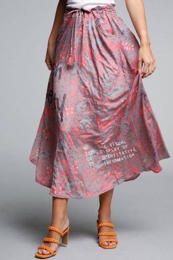 חצאית מקסי בוהו בגווני אפרסק אפור SEVENSEVENTY