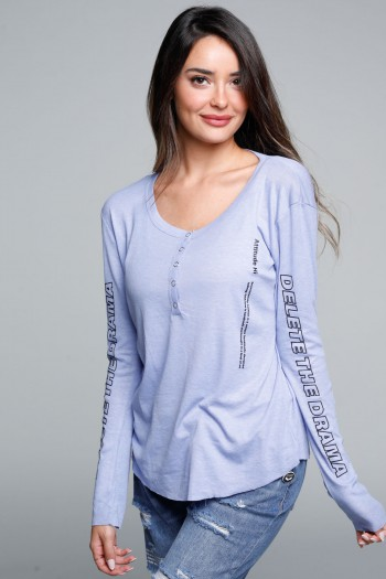חולצת בייסיק טיקטקים ארוכה סגולה DELETE