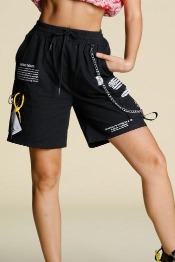 """מכנסי דגמ""""ח קצרים שחורים שרשרת HAND MADE"""